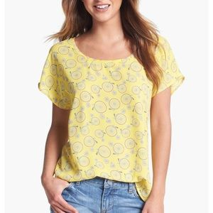 Pleione Yellow Bicycle Short Sleeve Blouse—S
